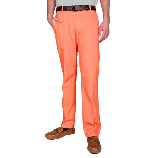 Men's Pants - Trim Fit Skipjack Pants In Fusion Coral By Southern Tide