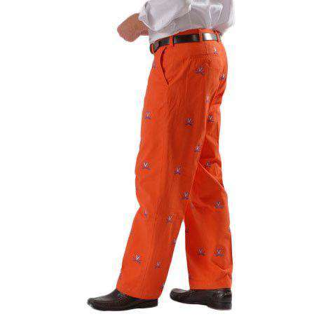 Virginia Stadium Pant in Orange by Pennington & Bailes