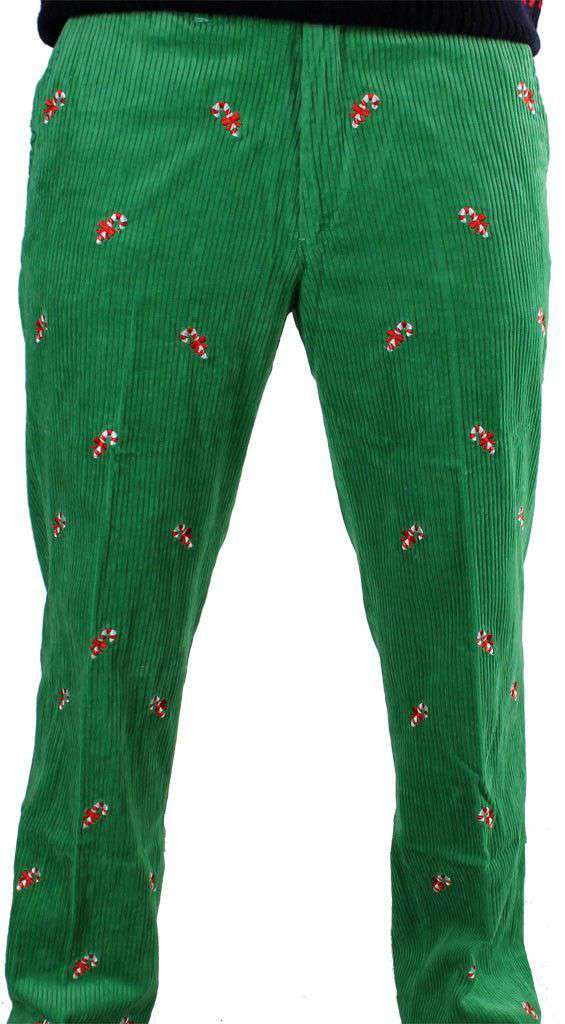 Men's Pants - Wide Wale Corduroy Pants In Evergreen With Embroidered Candy Canes By Castaway Clothing