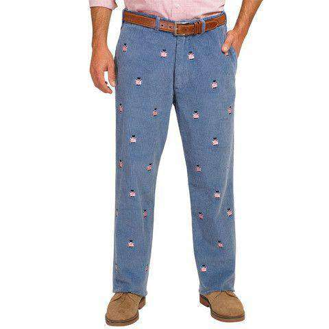 Men's Pants - Wide Wale Corduroy Pants In Storm Blue With Capitalistic Pigs By Castaway Clothing - FINAL SALE