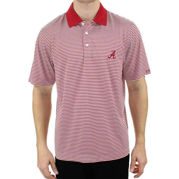Men's Polo Shirts - Alabama Drytec Trevor Stripe Polo In Crimson And White By Cutter & Buck