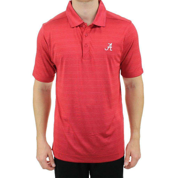 Men's Polo Shirts - Alabama Interbay Melange Stripe Polo In Crimson By Cutter & Buck