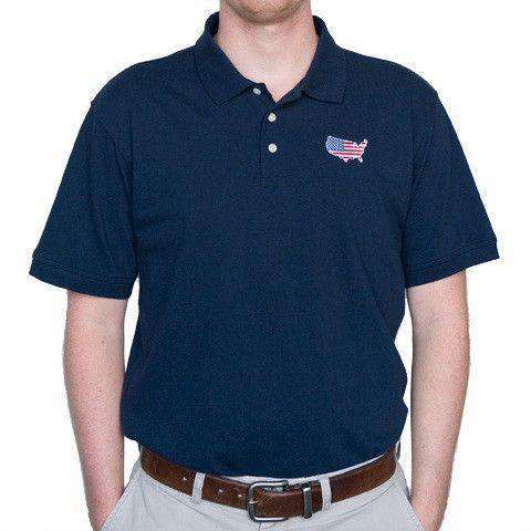 Men's Polo Shirts - America Traditional Polo In Navy By State Traditions