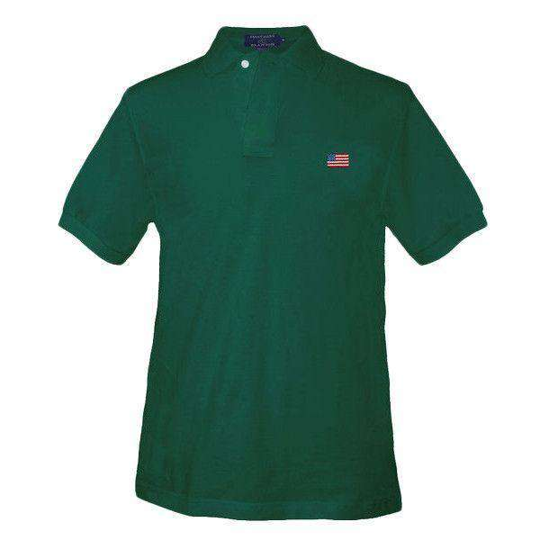 Men's Polo Shirts - American Flag Needlepoint Polo Shirt In Hunter By Smathers & Branson