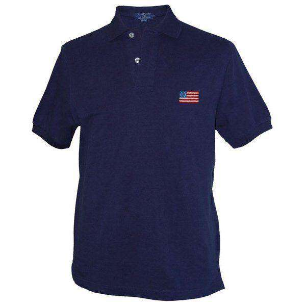 Men's Polo Shirts - American Flag Needlepoint Polo Shirt In Navy By Smathers & Branson