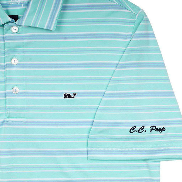 Men's Polo Shirts - Armstrong Three Color Stripe Polo In Blue Fin By Vineyard Vines - FINAL SALE