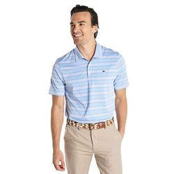 Men's Polo Shirts - Armstrong Three Color Stripe Polo In Jake Blue By Vineyard Vines - FINAL SALE