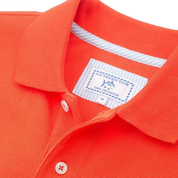 Men's Polo Shirts - Auburn Gameday Skipjack Polo In Endzone Orange By Southern Tide