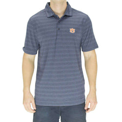 Men's Polo Shirts - Auburn Interbay Melange Stripe Polo In Light Navy By Cutter & Buck
