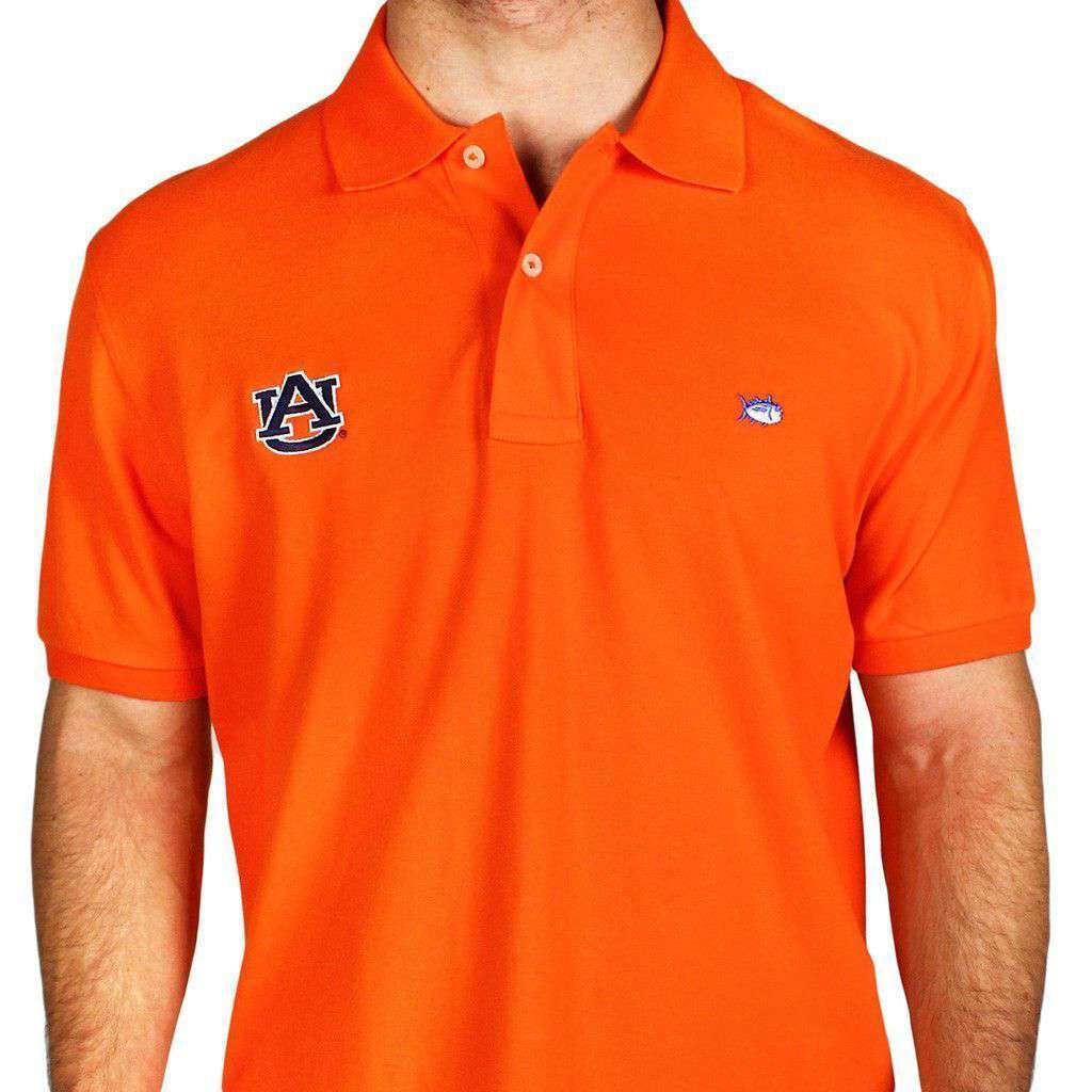 Men's Polo Shirts - Auburn University Collegiate Skipjack Polo In Endzone Orange By Southern Tide