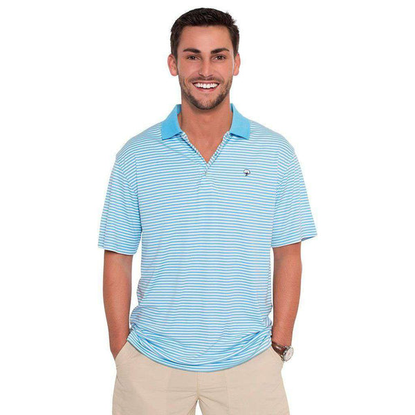 Augusta Stripe Performance Polo in Alaskan Blue by The Southern Shirt Co.