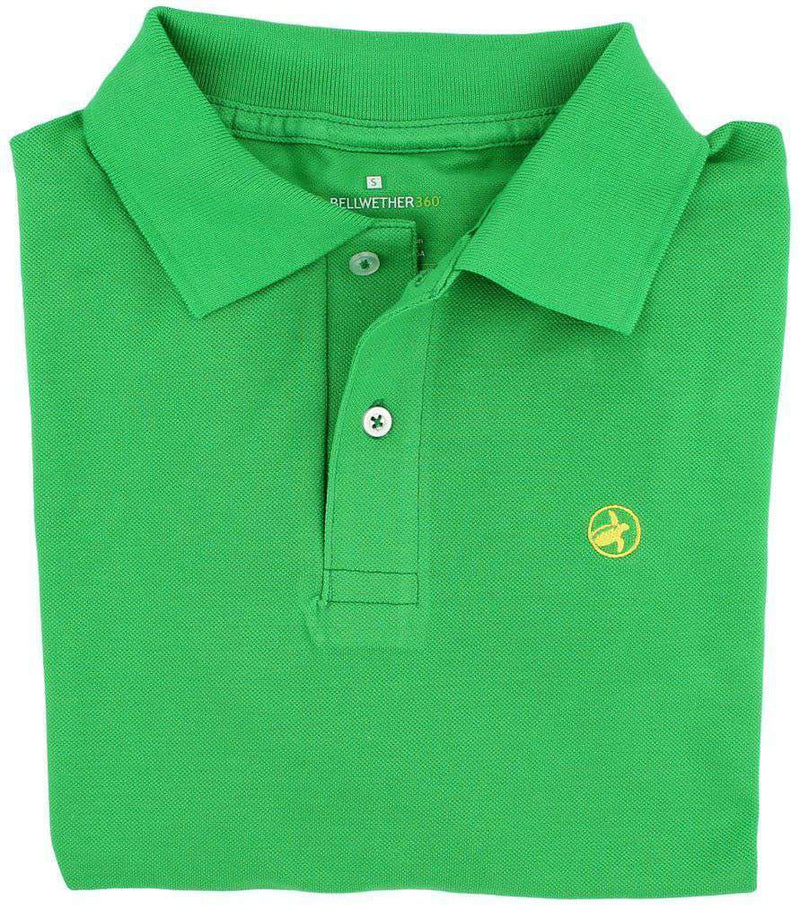 Men's Polo Shirts - Bellwether360 Polo In Sweetgrass Green With Yellow Logo By Loggerhead Apparel - FINAL SALE