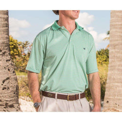 Men's Polo Shirts - Bermuda Performance Polo In Asparagus And White Stripe By Southern Marsh