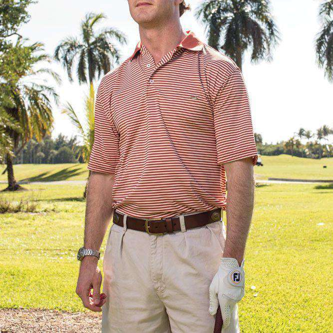Men's Polo Shirts - Bermuda Performance Polo In Burnt Orange And White Stripe By Southern Marsh