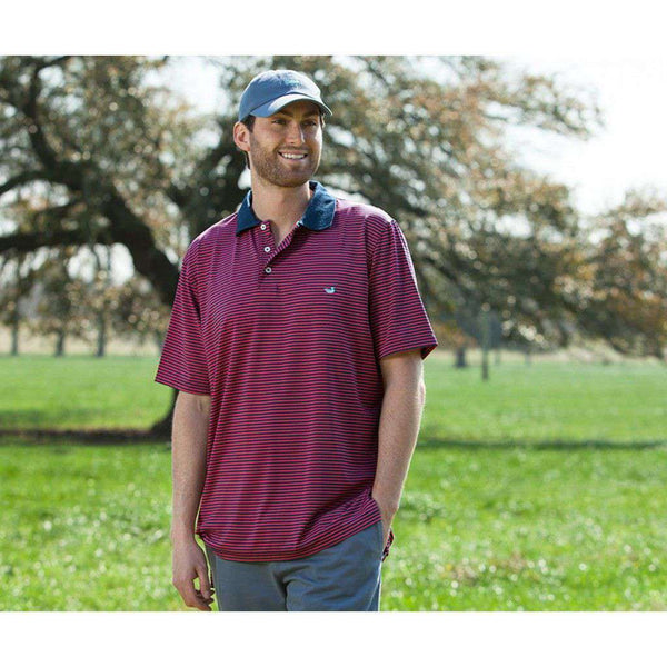 Men's Polo Shirts - Bermuda Performance Polo In Pink And Navy Stripe By Southern Marsh