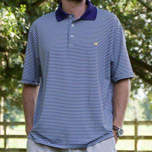 Men's Polo Shirts - Bermuda Performance Polo In Purple And White Stripe By Southern Marsh