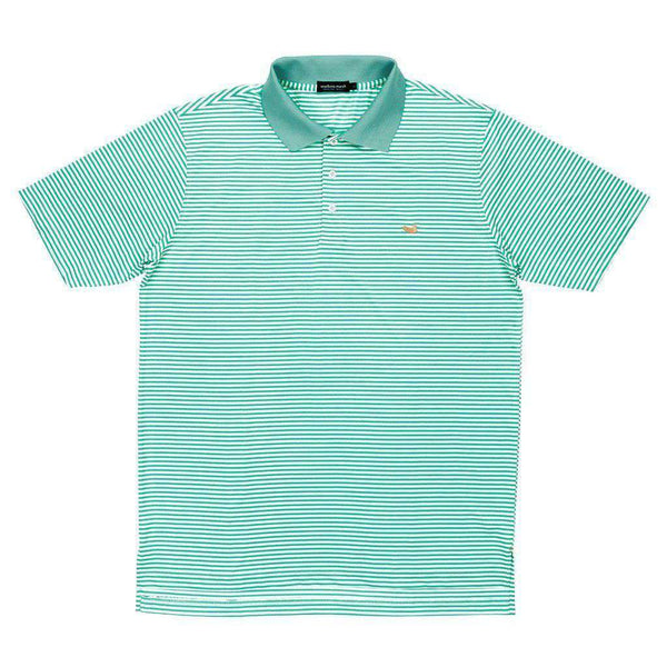 Men's Polo Shirts - Bermuda Stripe Polo In Bimini Green And White By Southern Marsh