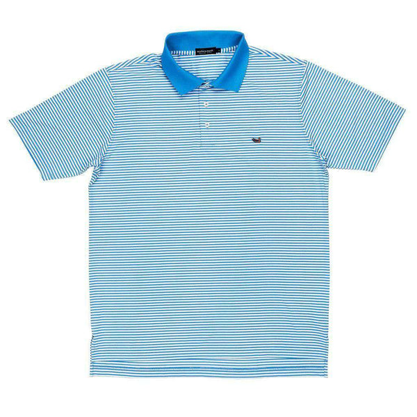 Men's Polo Shirts - Bermuda Stripe Polo In Breaker Blue And White By Southern Marsh