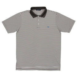 Men's Polo Shirts - Bermuda Stripe Polo In Charcoal Grey And White By Southern Marsh
