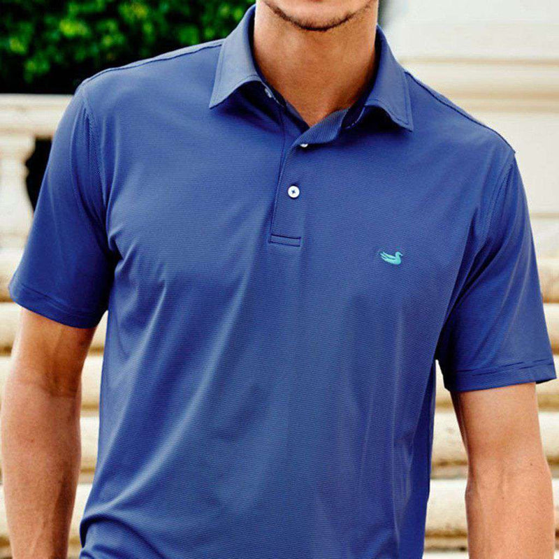 Bermuda Tucker Golf Polo in Navy and Blue by Southern Marsh