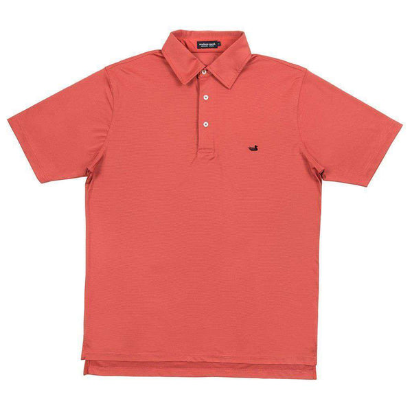 Men's Polo Shirts - Bermuda Tucker Golf Polo In Red & Crimson By Southern Marsh