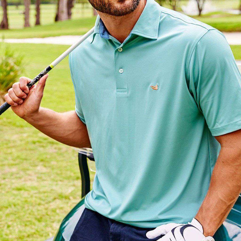 Men's Polo Shirts - Bermuda Tucker Golf Polo In Slate And Mint By Southern Marsh