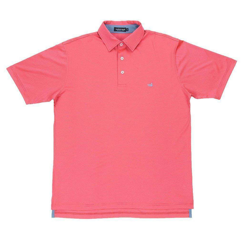 Men's Polo Shirts - Bermuda Tucker Golf Polo In Slate And Pink By Southern Marsh
