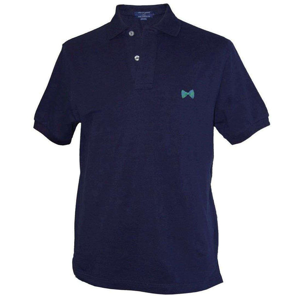 Men's Polo Shirts - Bowtie Needlepoint Polo Shirt In Navy Blue By Smathers & Branson