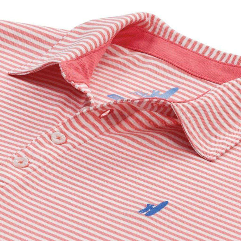 "Bunker Stripe ""Prep-formance"" Polo in Coral Reefer by Johnnie-O"