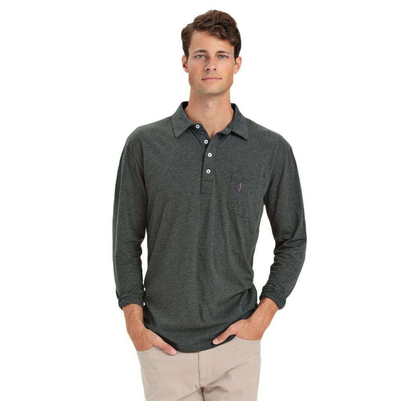 Men's Polo Shirts - Burke Long Sleeve Polo In Pavement By Johnnie-O