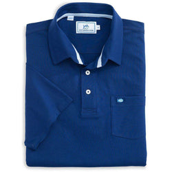 Men's Polo Shirts - Channel Marker Polo In Blue Depths By Southern Tide