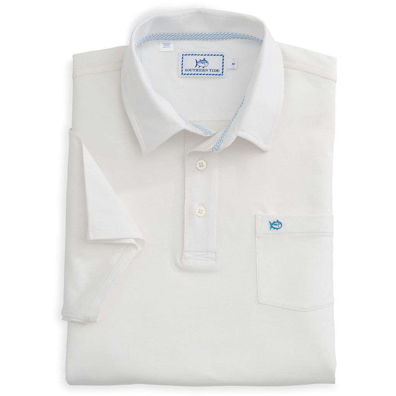 Men's Polo Shirts - Channel Marker Polo In Classic White By Southern Tide