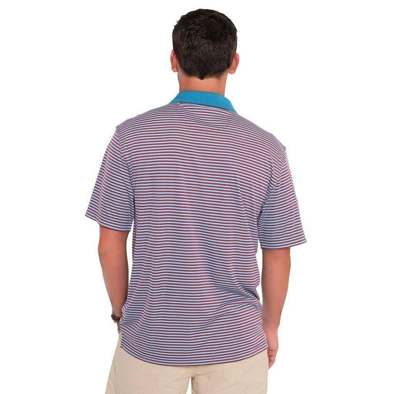 Men's Polo Shirts - Charleston Stripe Performance Polo In Crunchberry By The Southern Shirt Co.