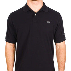 Men's Polo Shirts - Classic Pique Polo In Black, Featuring Longshanks The Fox By Vineyard Vines