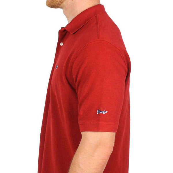 Men's Polo Shirts - Classic Pique Polo In Maroon, Featuring Longshanks The Fox By Vineyard Vines