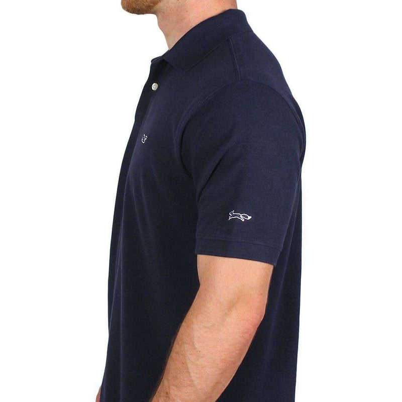 Men's Polo Shirts - Classic Pique Polo In Navy, Featuring Longshanks The Fox By Vineyard Vines