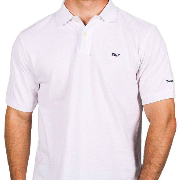 Men's Polo Shirts - Classic Pique Polo In White, Featuring Longshanks The Fox By Vineyard Vines