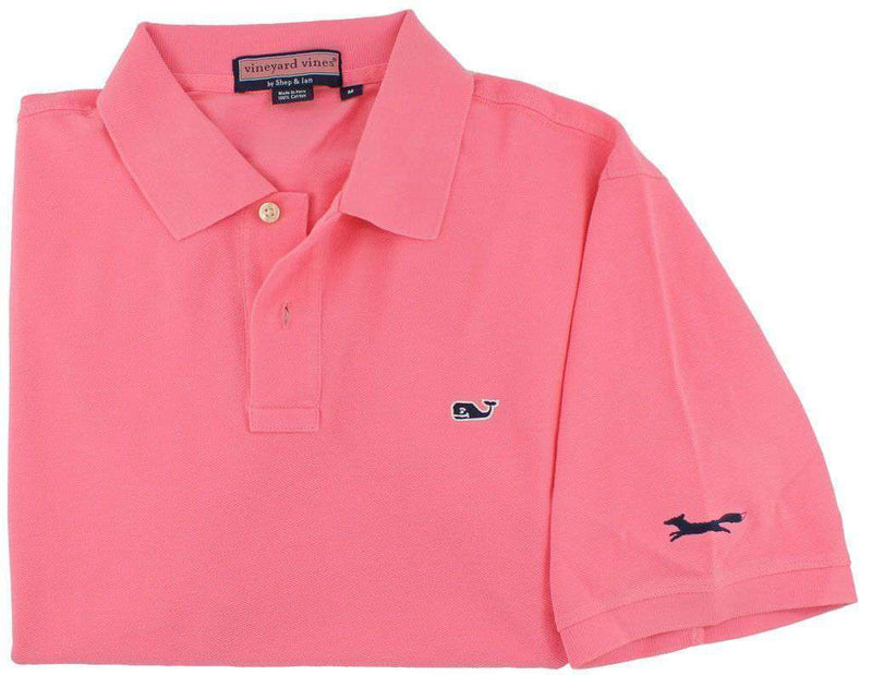 Men's Polo Shirts - Classic Polo In Bermuda Pink By Vineyard Vines, Featuring Longshanks The Fox