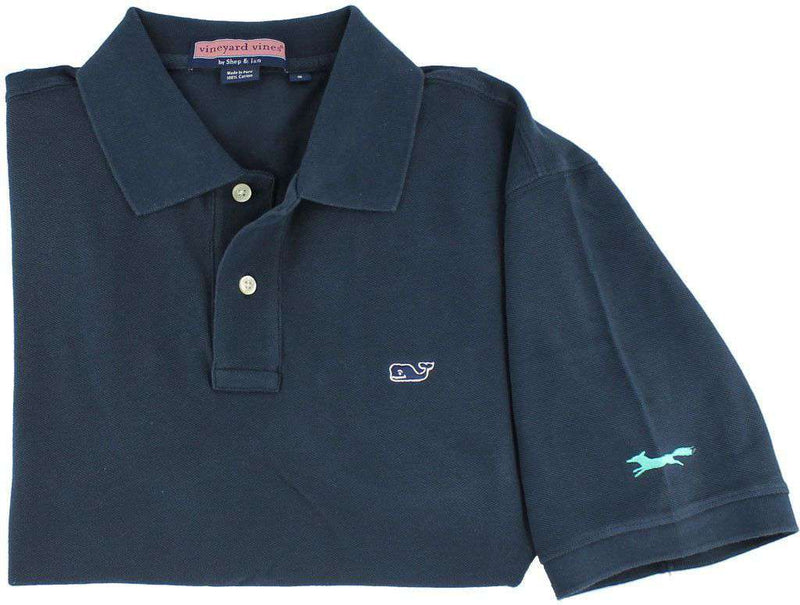 Classic Polo in Vineyard Navy by Vineyard Vines, Featuring Longshanks the Fox - OLD COLOR FOX LOGO - Country Club Prep