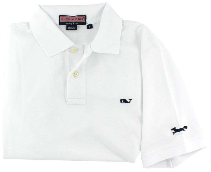 Men's Polo Shirts - Classic Polo In White By Vineyard Vines, Featuring Longshanks The Fox