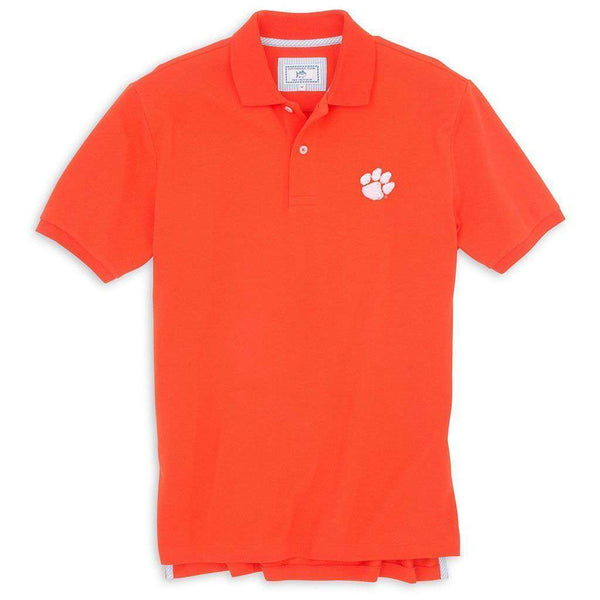 Men's Polo Shirts - Clemson Gameday Skipjack Polo In Endzone Orange By Southern Tide - FINAL SALE