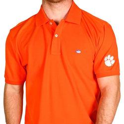 Men's Polo Shirts - Clemson University Collegiate Skipjack Polo In Endzone Orange By Southern Tide
