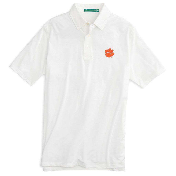 Men's Polo Shirts - Clemson University Gameday Driver Performance Polo In Classic White By Southern Tide - FINAL SALE