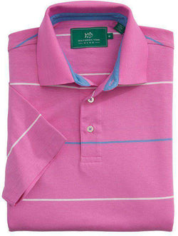 Men's Polo Shirts - Coastal Pines Breton Stripe Polo In Bright Pink By Southern Tide