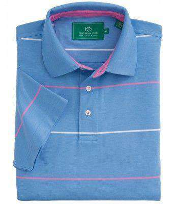 Men's Polo Shirts - Coastal Pines Breton Stripe Polo In Cool Water Blue By Southern Tide