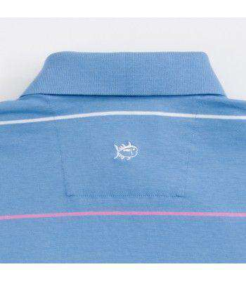 Coastal Pines Breton Stripe Polo in Cool Water Blue by Southern Tide