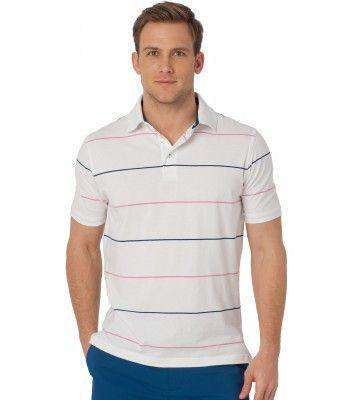 Men's Polo Shirts - Coastal Pines Breton Stripe Polo In White By Southern Tide