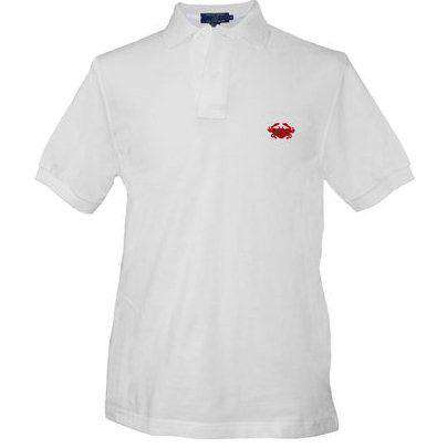 Men's Polo Shirts - Crab Needlepoint Polo Shirt In White By Smathers & Branson
