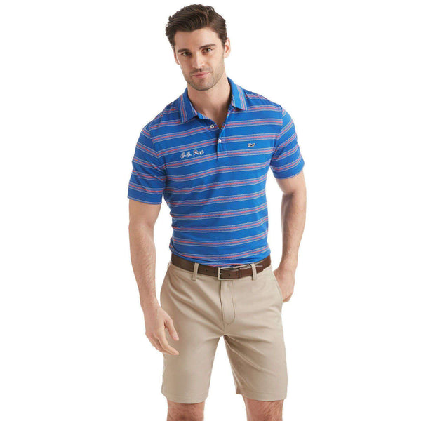Men's Polo Shirts - Custom Bowie Stripe Performance Polo In Kingfisher By Vineyard Vines