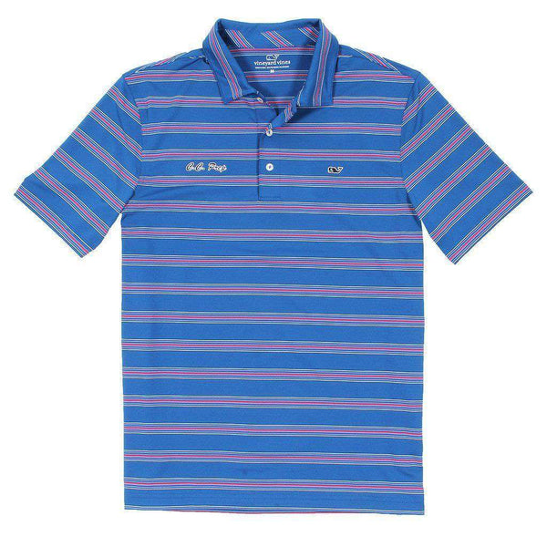 Custom Bowie Stripe Performance Polo in Kingfisher by Vineyard Vines